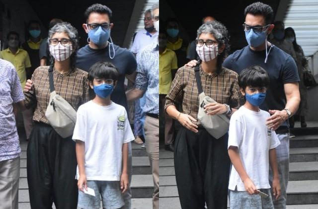 aamir khan spotted outside restaurant to lunch with ex wife kiran rao and son