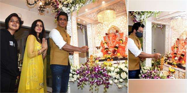 sonu sood celebrates ganesh chaturthi with family