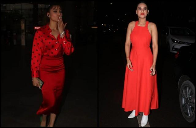 nia sharma and urvashi rautela stole limelight in red look