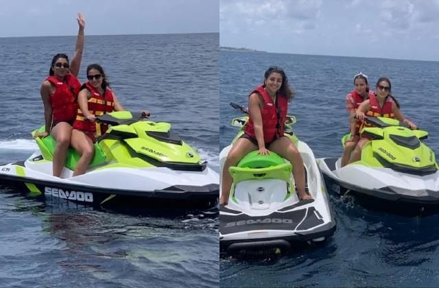 sara ali khan enjoying jet ski with friends video viral