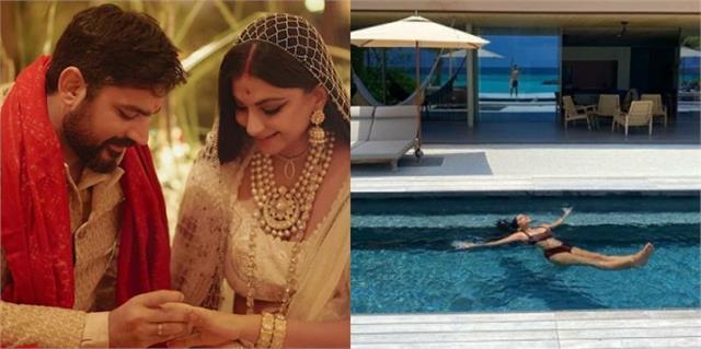 rhea kapoor enjoys honeymoon with husband karan boolani in maldives